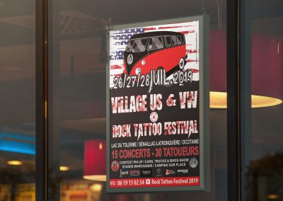 Affiche festival rock tattoo village us et vw