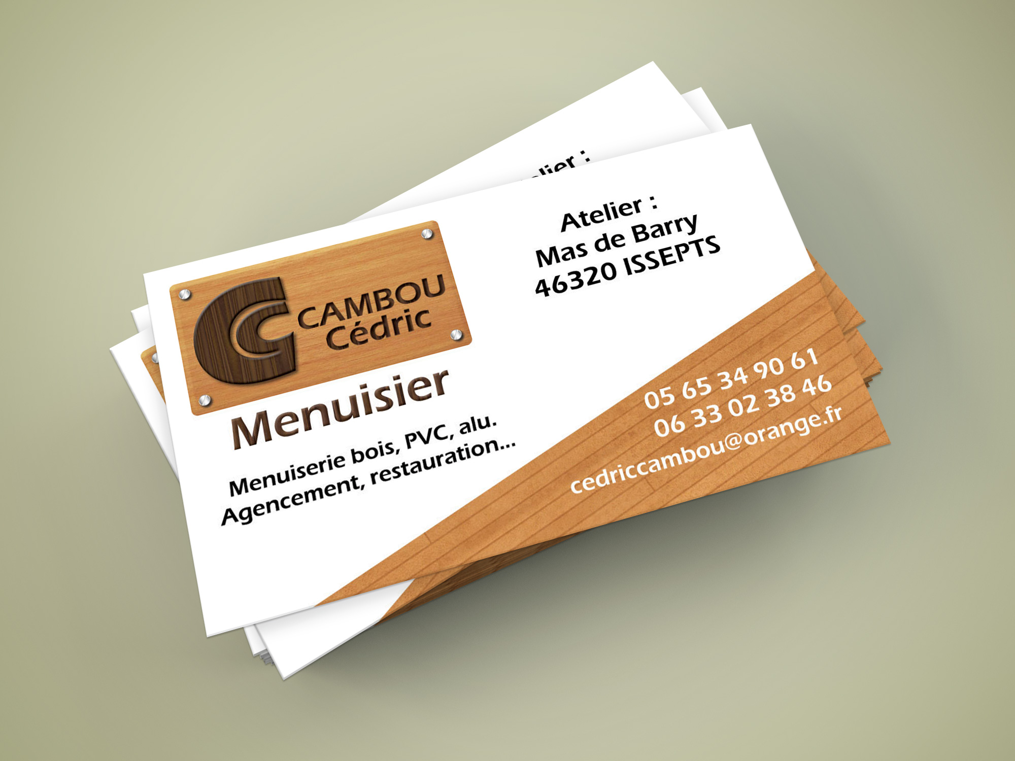 Carte de visite menuiserie Cédric Cambou